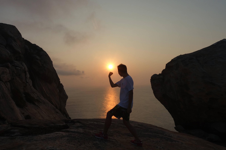 我在庙湾岛与日出